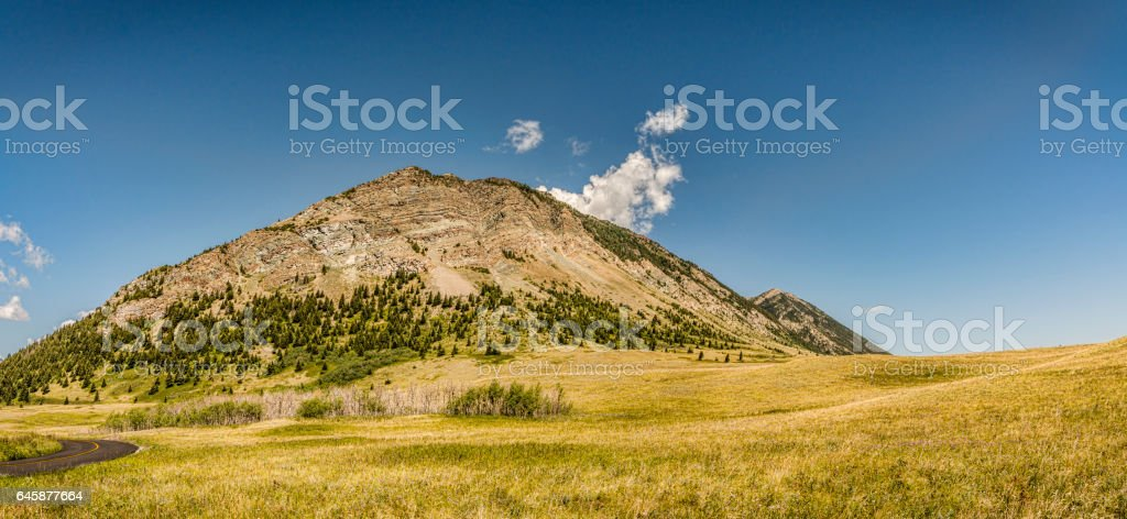 Panoramic View of Mountain Waterton and Lakes National Park stock photo