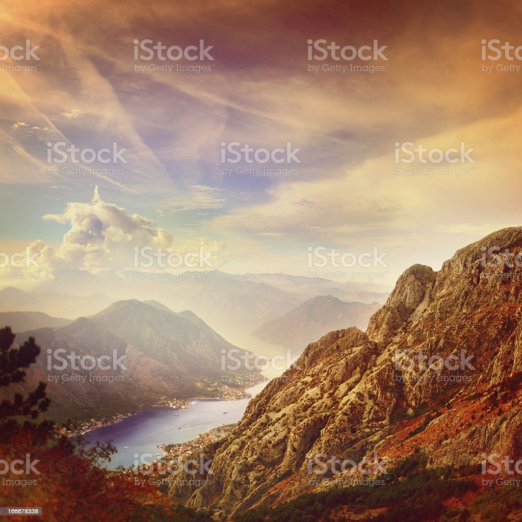 Panoramic view of mountains and bay stock photo