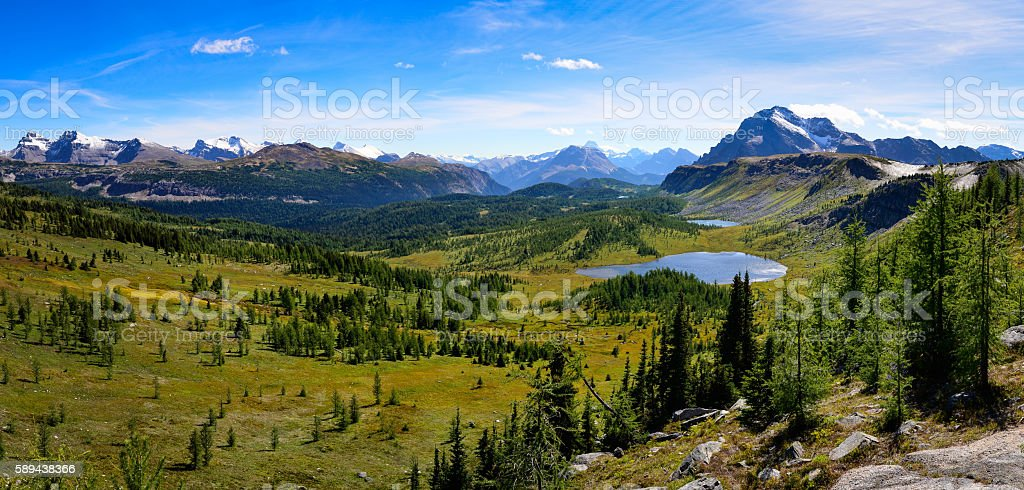 Panoramic view of mountains in Banff national park, Alberta, Can stock photo
