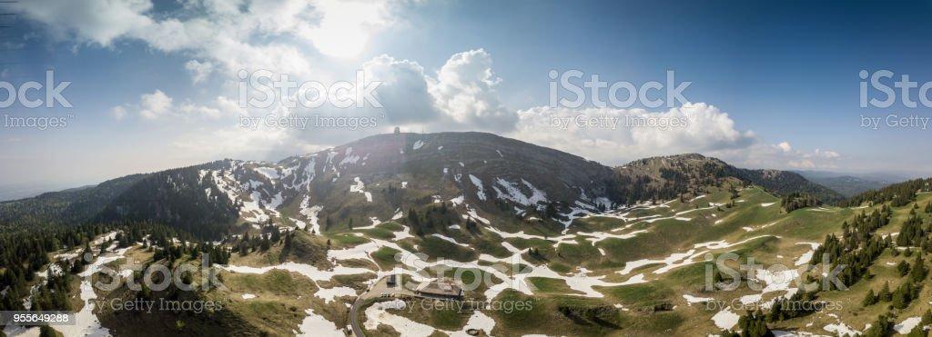Panoramic view of mountains in Switzerland stock photo