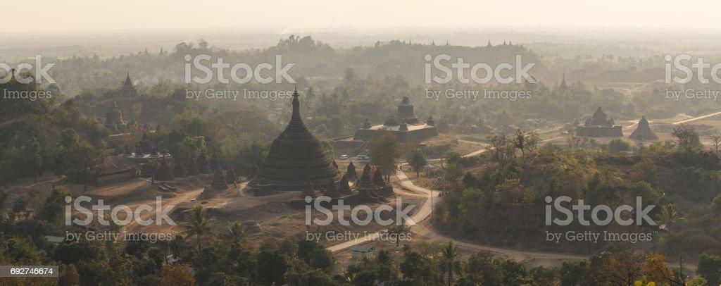 Panoramic view of Mruak U ancient city at sunset, Rakhine state, Myanmar stock photo