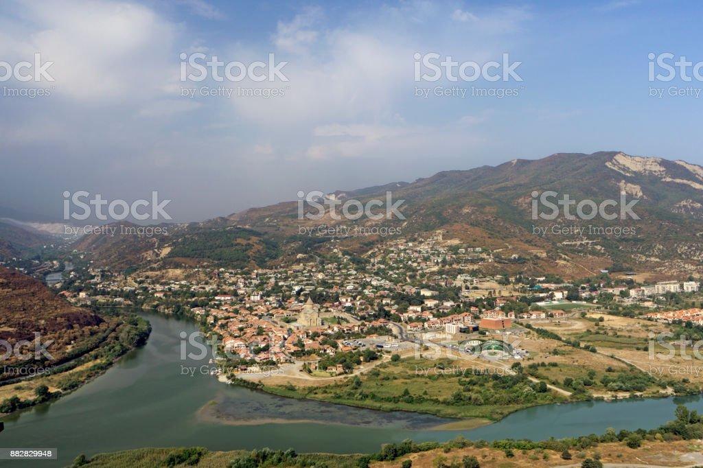 panoramic view of Mtskheta city and Kura river from Jvari monastery stock photo