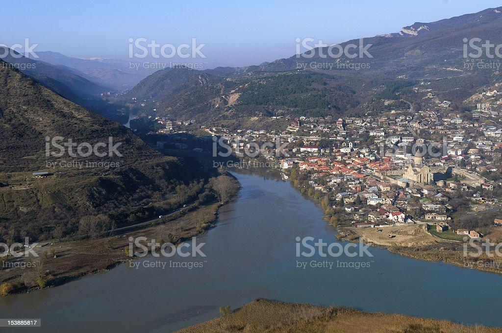 Panoramic view of Mtskheta royalty-free stock photo
