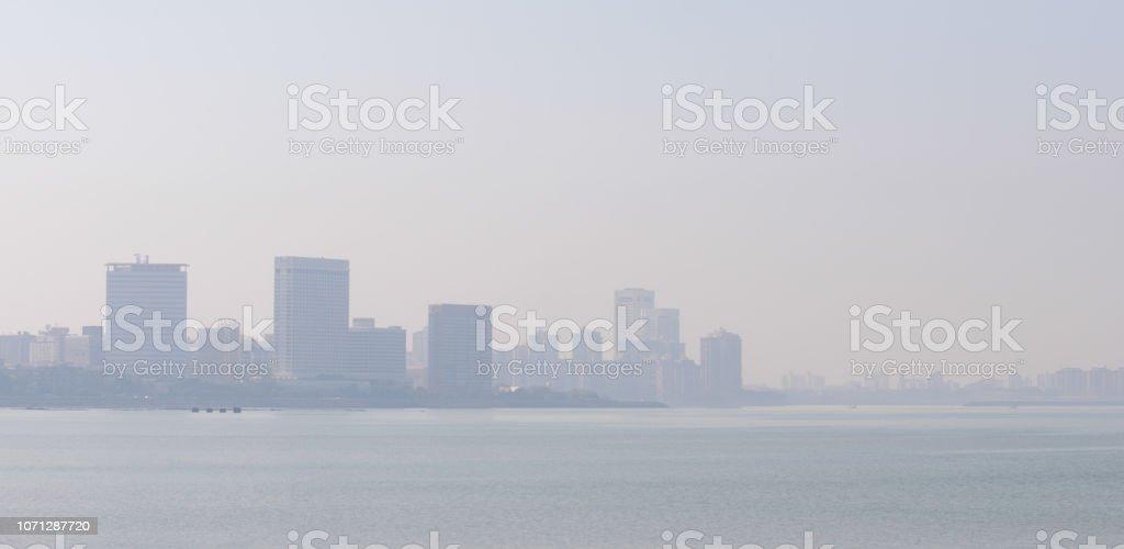 Panoramic View of Mumbai Skyline in Winter Smog stock photo