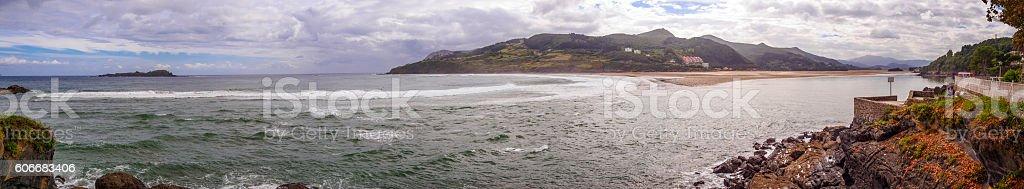 Panoramic view of Mundaka, the home of the left wave stock photo