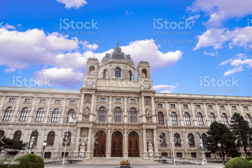 Panoramic view of Museum of Fine Arts history in Vienna stock photo