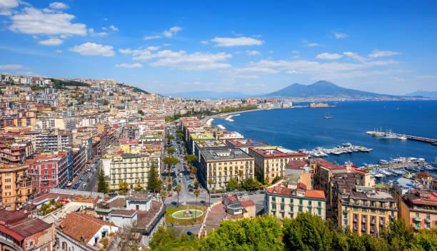 Panoramic view of Naples city and Mount Vesuvius, Italy stock photo