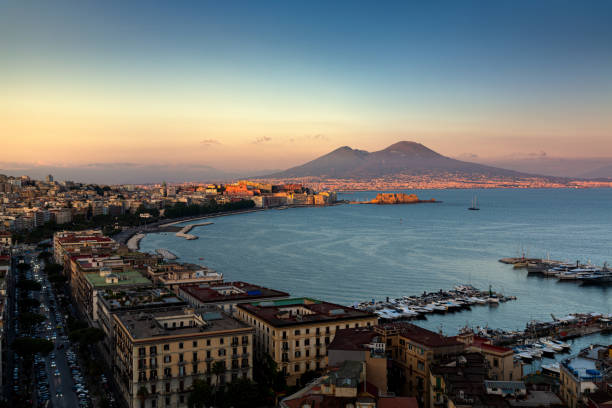 Panoramic view of Naples with Vesuvius stock photo