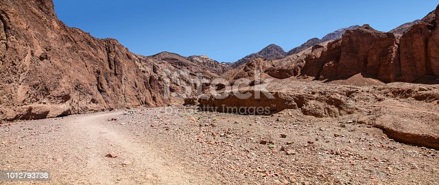 Panoramic view of Natural Bridge Canyon hiking trailhead in Death Valley National Park California