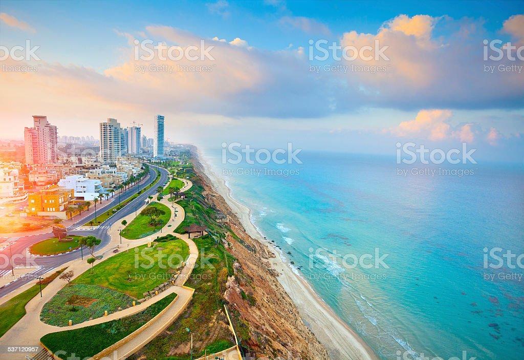 Panoramablick auf Netanya Stadt, Israel – Foto