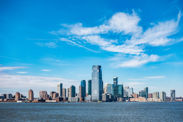 Panoramic view of New Jersey City skylines Panoramic view of New Jersey City skylines liberty island stock pictures, royalty-free photos & images