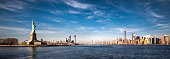 Panoramic view of New York City, Jersey City and the Statue of Liberty.