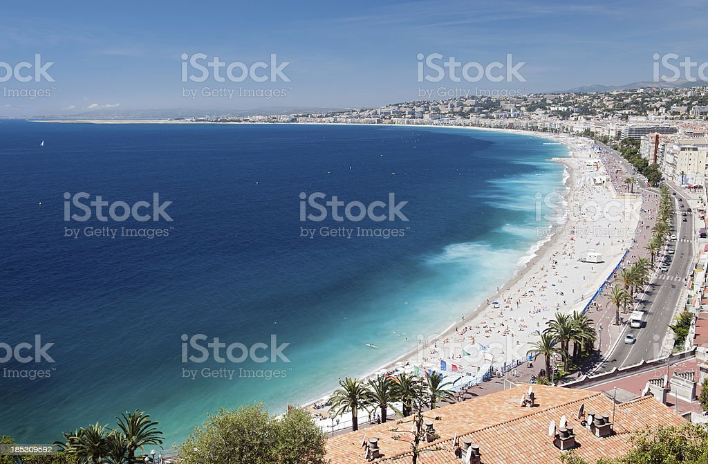 Panoramic View of Nice Beach, Cote d'azur royalty-free stock photo