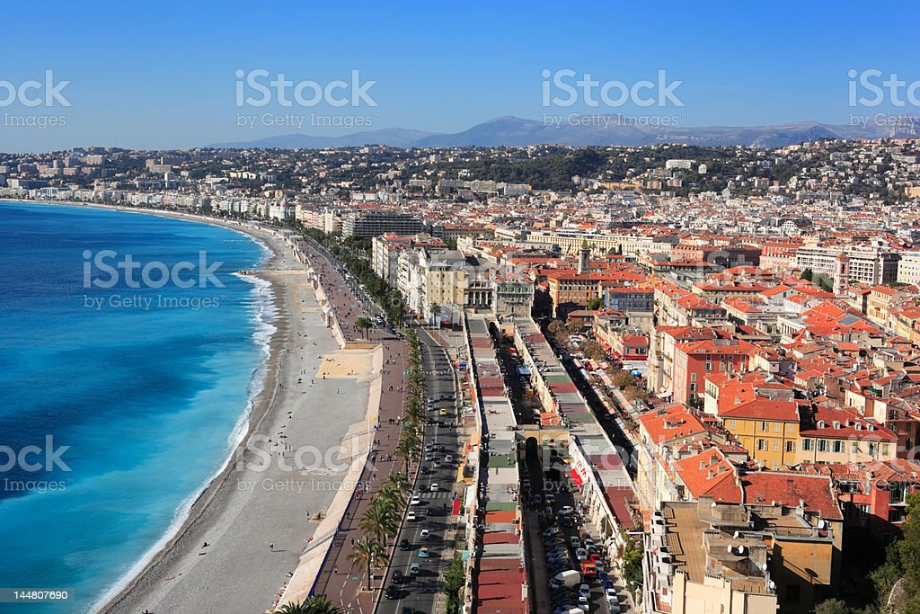 panoramic view of Nice cityscape and coast, French Riviera, France royalty-free stock photo