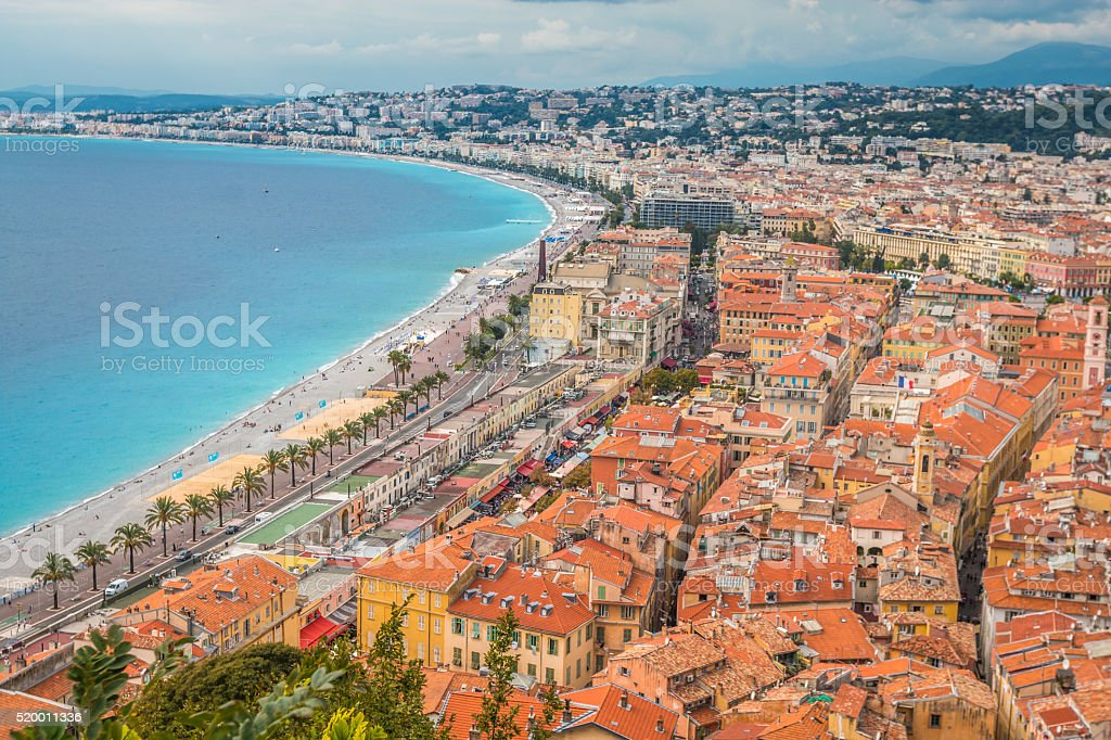 Panoramic view of Nice , France stock photo