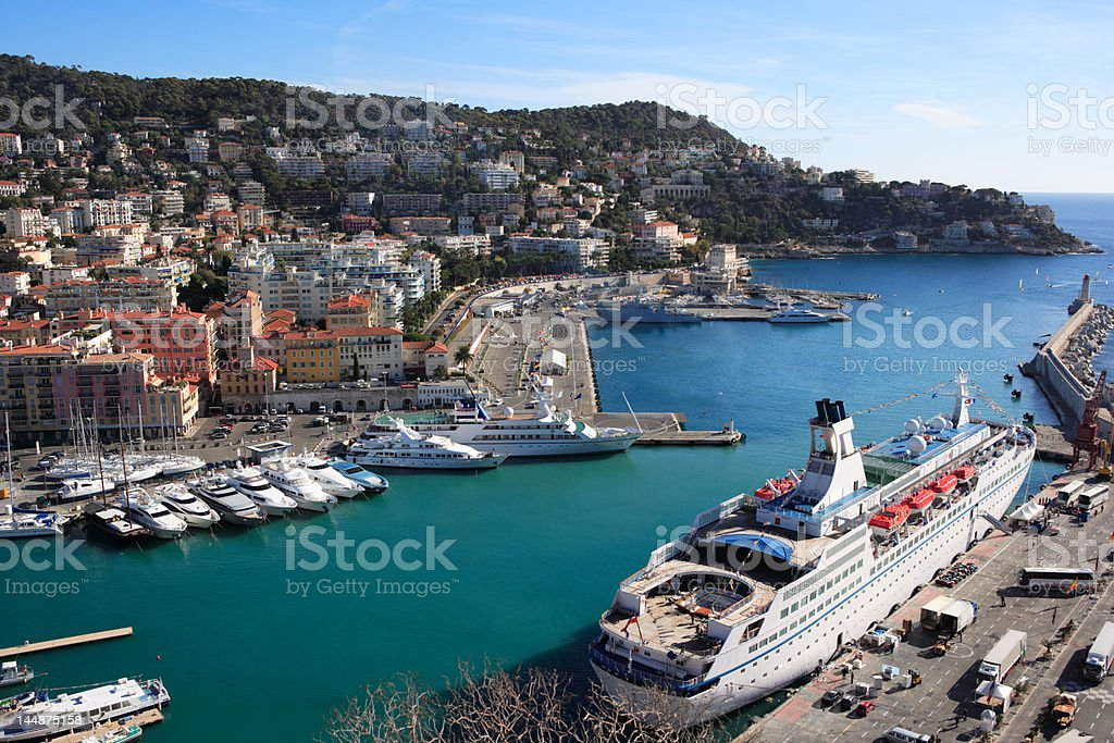 panoramic view of Nice harbor, France,  with cruise ship royalty-free stock photo