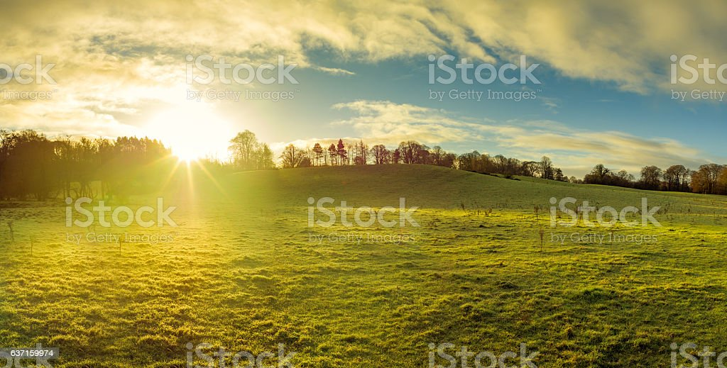 panoramic view of Northern Ireland countryside morning sunrise stock photo