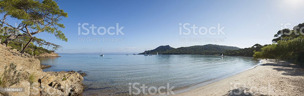 Panoramic view of Notre Dame beach in Porquerolles island stock photo