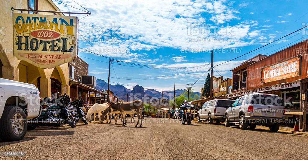 Panoramic view of Oatman - historic ghost town Arizona, USA stock photo