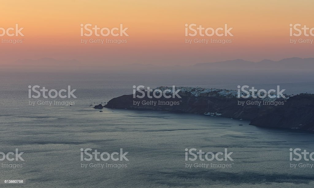 Panoramic view of Oia village stock photo
