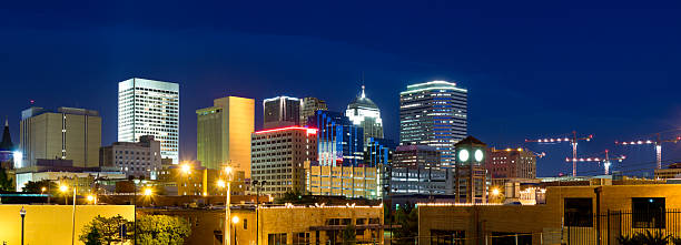 Panoramic View of Oklahoma City Skyline at Dusk (XXXL) stock photo