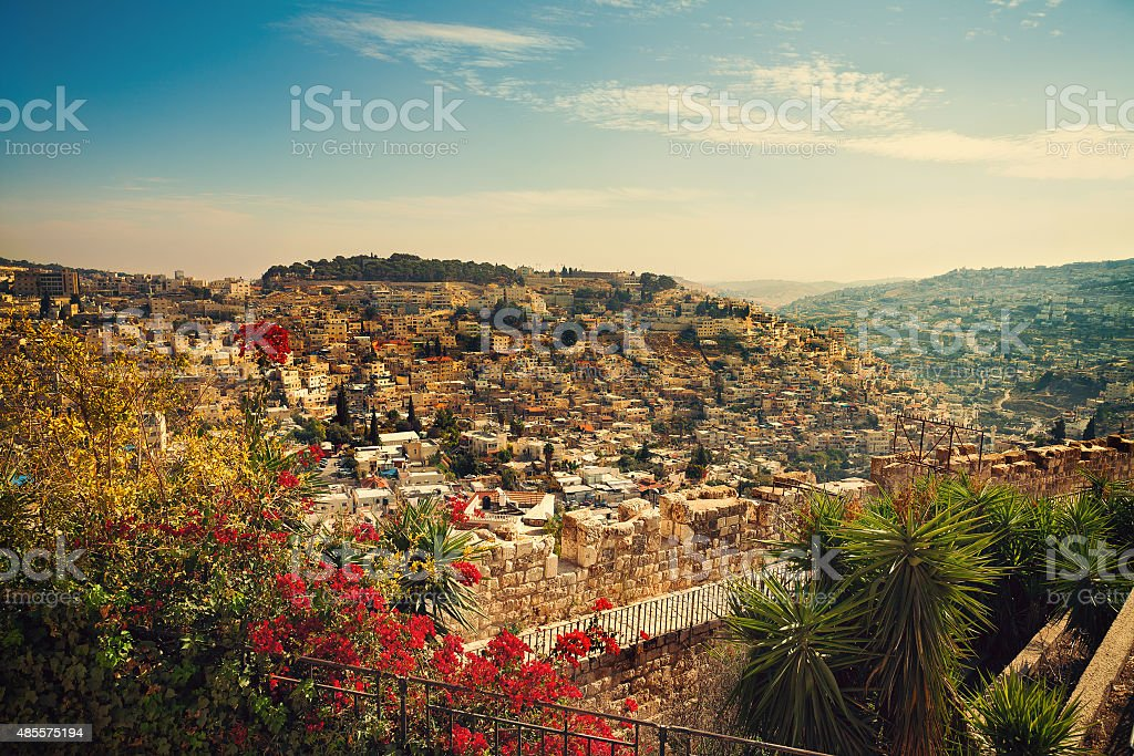 Panoramic view of old city Jerusalem, Israel stock photo