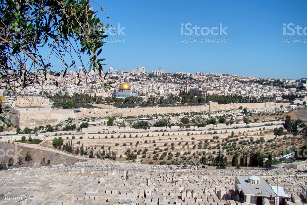 Panoramic view of old city of jerusalem from the mount of Olives stock photo