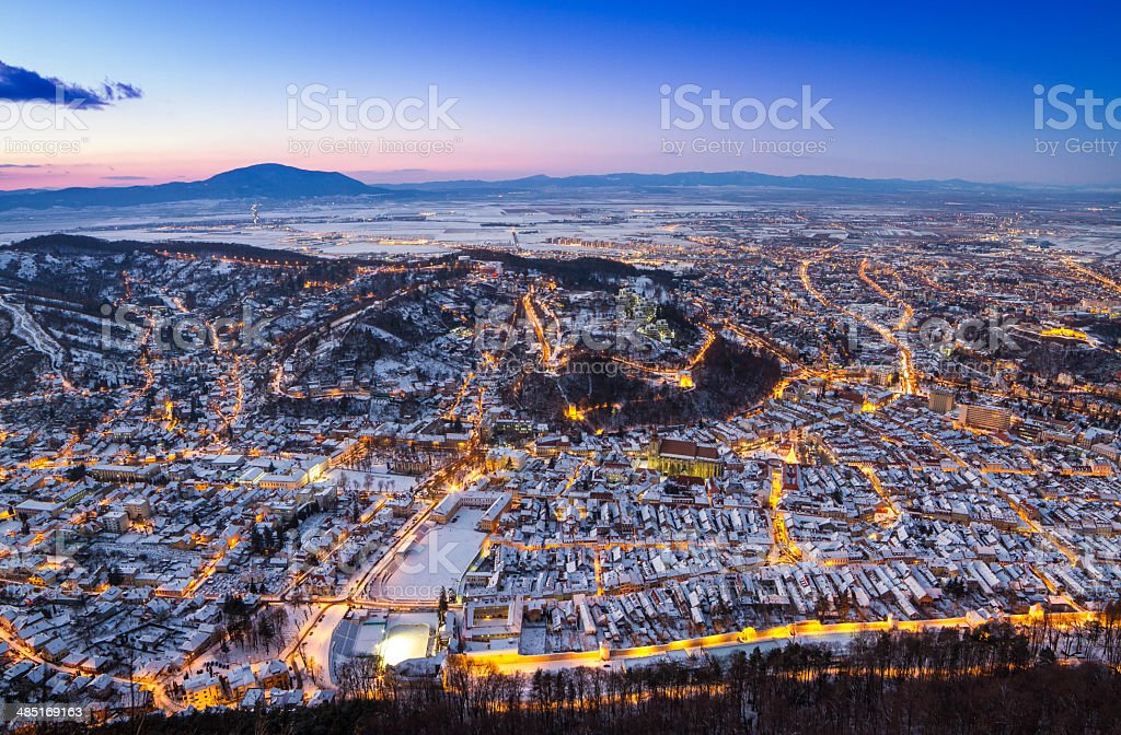 Panoramic view of old city. stock photo
