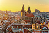 Panoramic view of Old Town and Temple of Tyn in Prague, Czech Republic