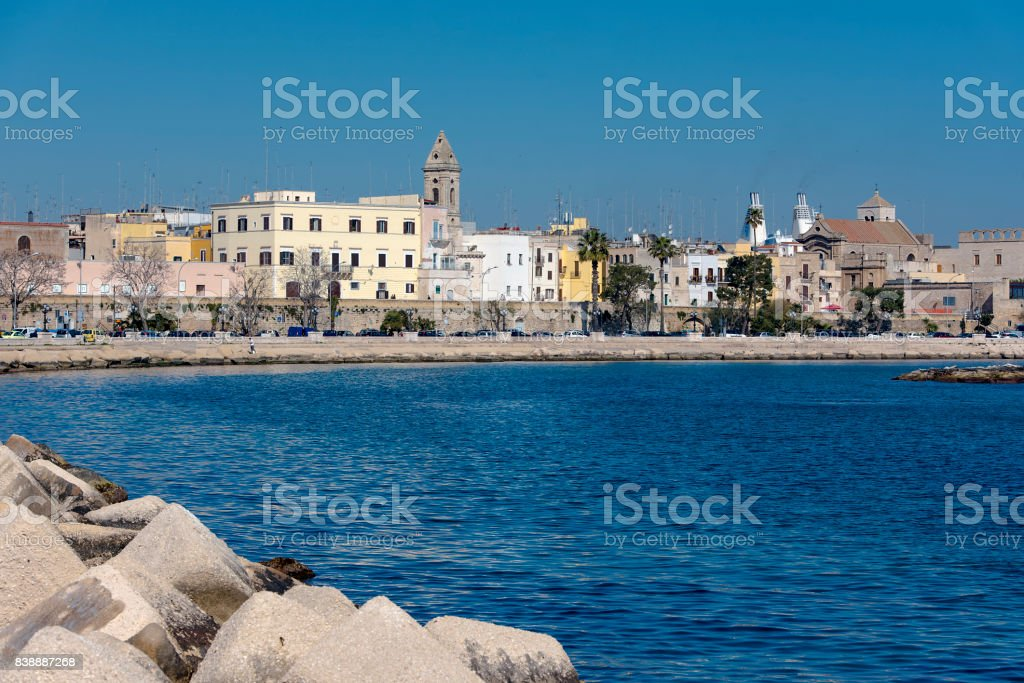 Panoramic view of old town in Bari in Italy stock photo