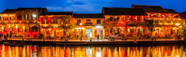 Panoramic view of Old Town in Hoi An city, Vietnam stock photo