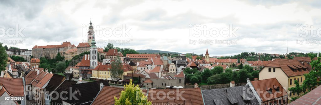 Panoramic view of old town krumlov stock photo