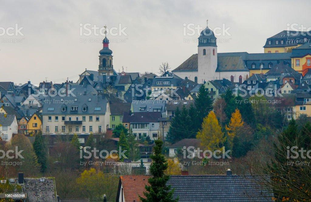 Vue panoramique de la vieille ville de Hachenburg, Rheinland-Pfalz, Allemagne - Photo