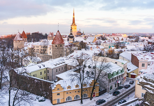 Panoramic view of old town of Tallinn from observation deck