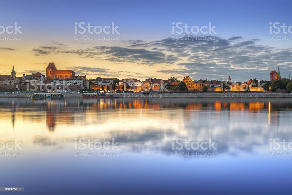 Panoramic view of old town of Torun at beautiful a unset stock photo
