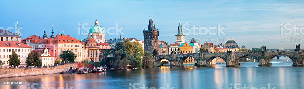 Panoramic View of Old Town Prague, Czech Republic stock photo