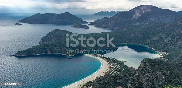 istock Panoramic view of  Oludeniz Beach and bay, Mugla, Turkey.  Aerial Photo from Lycian way. Summer and holiday concept. 1135398442