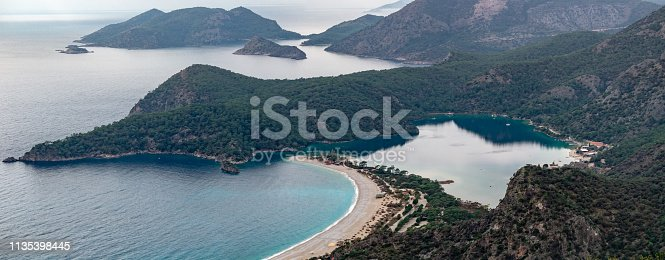 istock Panoramic view of  Oludeniz Beach and bay, Mugla, Turkey.  Aerial Photo from Lycian way. Summer and holiday concept. 1135398445