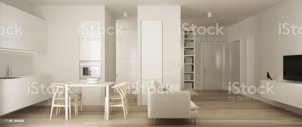 Panoramic View Of One Room Apartment Minimalist White Small Kitchen With Parquet Floor And Dining Table And Sofa Interior Design Modern Contemporary Architecture Concept Idea Stock Photo Download Image Now Istock