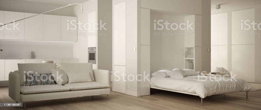 Fine Panoramic View Of One Room Apartment With Murphy Wall Bed Creativecarmelina Interior Chair Design Creativecarmelinacom