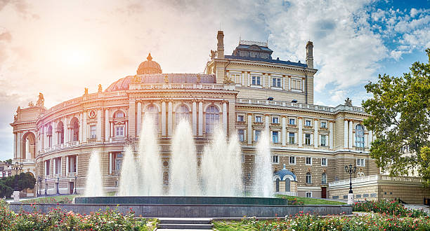 panoramic view of opera and ballet theater in odessa - ukrayna stok fotoğraflar ve resimler