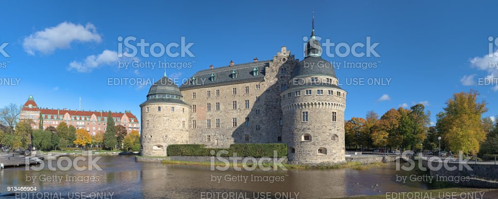 Panoramic view of Orebro Castle , Sweden stock photo