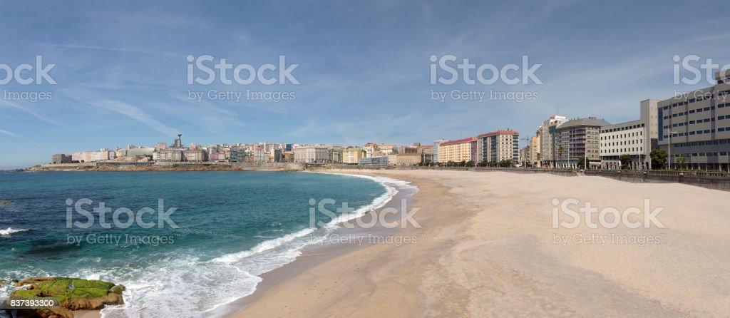 Panoramic view of Orzan beach and the city of La Coruna, Spain. stock photo
