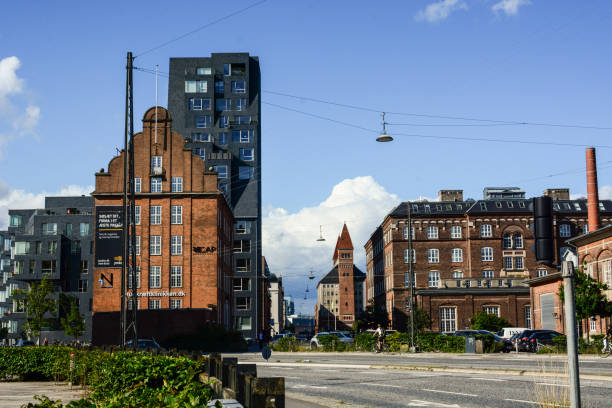 Panoramic view of Osterbro district in Copenhagen stock photo