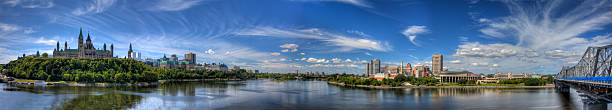 panoramic view of ottawa in canada - canada parliament stock photos and pictures