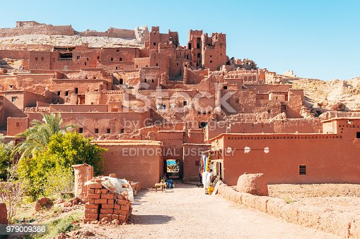 Ouarzazate, Morocco. 29th October, 2017: adobe fortress of ben ait hadou in ouarzazate village