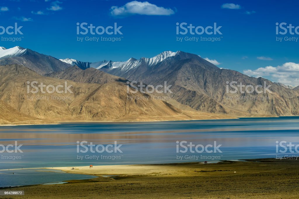Panoramic view of Pangong Lake stock photo