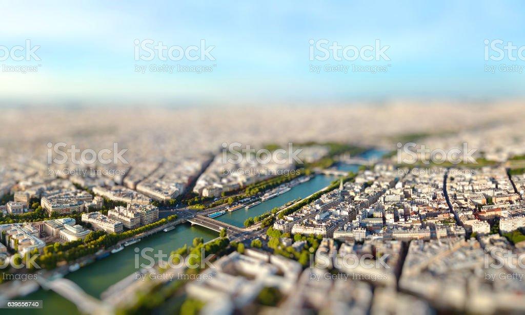 Panoramic view of Paris, France. Miniature tilt shift lens effect. stock photo