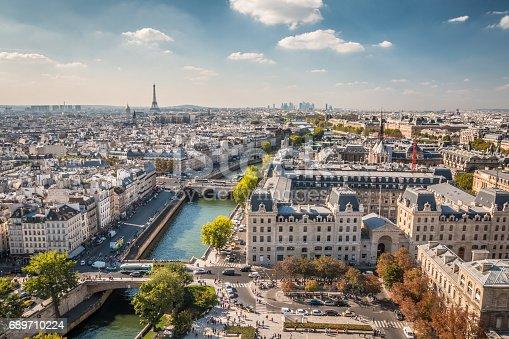 istock Panoramic view of Paris 689710224