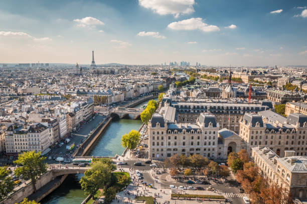 panoramic view of paris - paris france stock photos and pictures